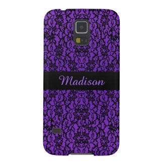 名前入りなヴィンテージの紫色のレースの銀河系S5の箱 GALAXY S5 ケース