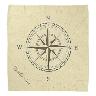名前入りなヴィンテージの航海のなコンパス面図のアイボリー バンダナ