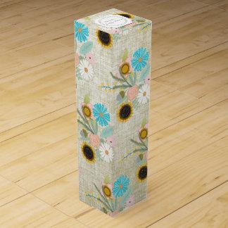 名前入りなヴィンテージの花の花輪パターン ワイン ギフト包装