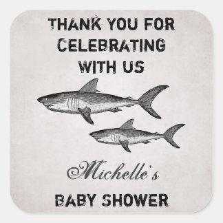 名前入りなヴィンテージの鮫のベビーシャワーは感謝していしています スクエアシール