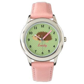 名前入りな一流のかわいいピンクのハリネズミの女の子の腕時計 リストウオッチ