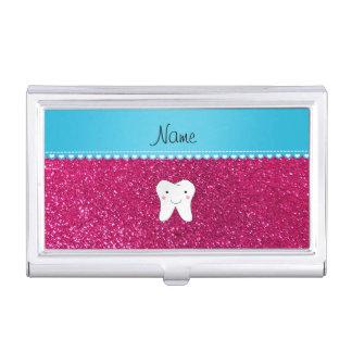 名前入りな一流のかわいい歯のピンクのグリッター 名刺入れ