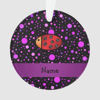 名前入りな一流のてんとう虫の紫色の水玉模様 オーナメント