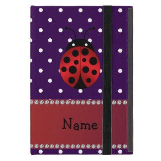 名前入りな一流のてんとう虫の紫色の水玉模様 iPad MINI ケース