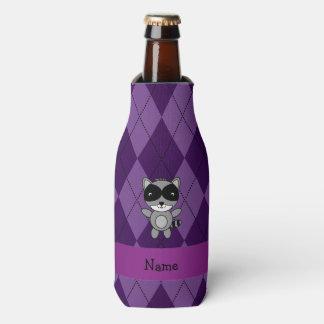 名前入りな一流のアライグマの紫色のアーガイル ボトルクーラー