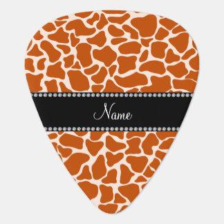 名前入りな一流のオレンジキリンパターン ギター用ピック
