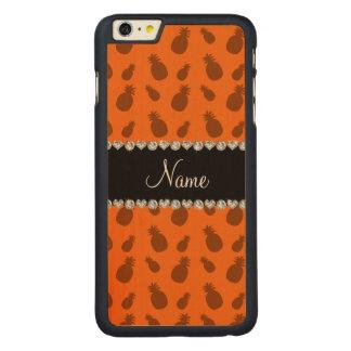 名前入りな一流のオレンジパイナップル CarvedメープルiPhone 6 PLUS スリムケース