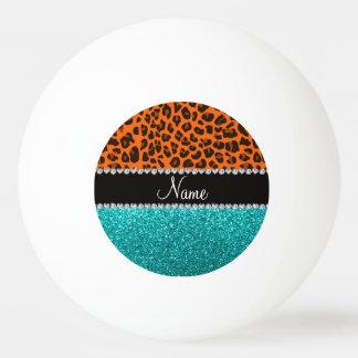 名前入りな一流のオレンジヒョウのターコイズのグリッター 卓球ボール