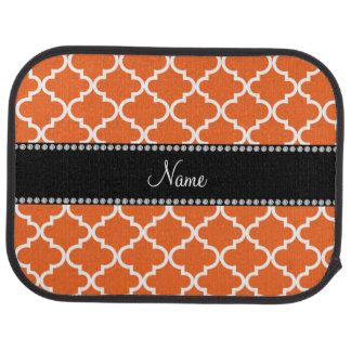 名前入りな一流のオレンジモロッコパターン カーマット