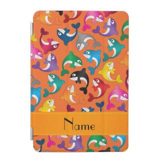 名前入りな一流のオレンジ虹のシャチ iPad MINIカバー