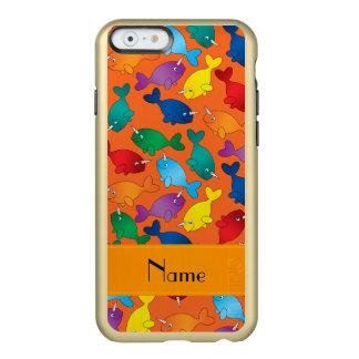 名前入りな一流のオレンジ虹のnarwhals incipio feather shine iPhone 6ケース