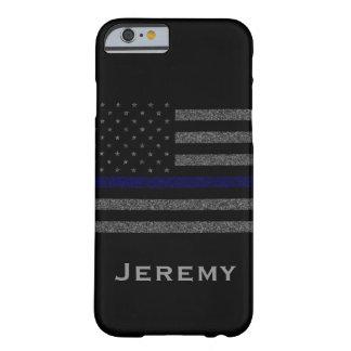 名前入りな一流のグランジで薄いブルーライン旗 BARELY THERE iPhone 6 ケース
