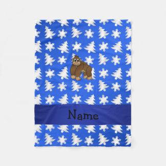 名前入りな一流のゴリラの青い雪片の木 フリースブランケット