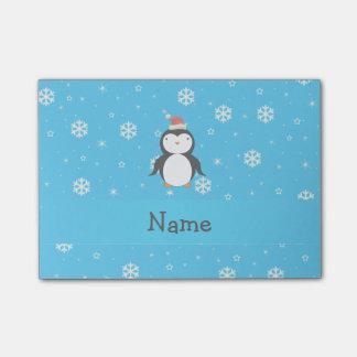 名前入りな一流のサンタのペンギンの青の雪片 ポストイット