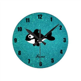 名前入りな一流のシャチのターコイズのグリッター ラウンド壁時計