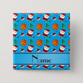 名前入りな一流のスカイブルーのバスケットボールのクリスマス 5.1CM 正方形バッジ