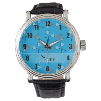 名前入りな一流のスカイブルーのバドミントンパターン 腕時計