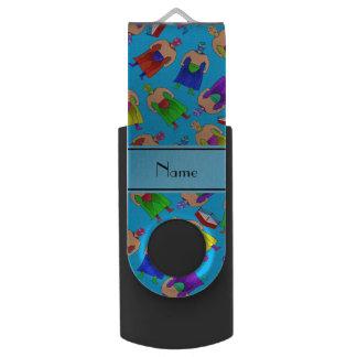 名前入りな一流のスカイブルーのメキシコレスリング USBフラッシュドライブ