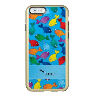名前入りな一流のスカイブルーの虹のnarwhals incipio feather shine iPhone 6ケース