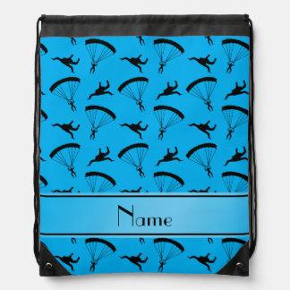 名前入りな一流のスカイブルーskydivingパターン ナップサック