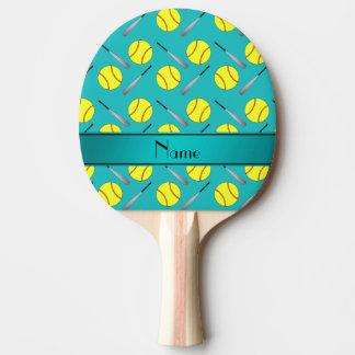 名前入りな一流のターコイズのソフトボールパターン 卓球ラケット