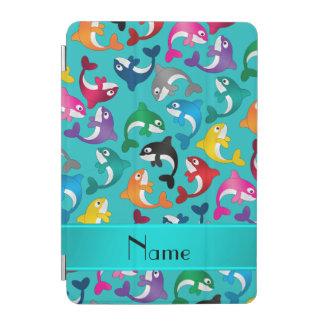 名前入りな一流のターコイズの虹のシャチ iPad MINIカバー