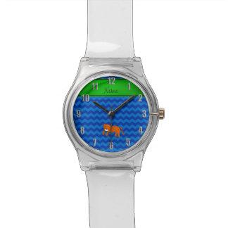 名前入りな一流のチータの青のシェブロン 腕時計