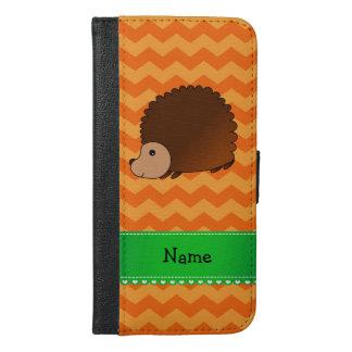 名前入りな一流のハリネズミのオレンジのシェブロン iPhone 6/6S PLUS ウォレットケース