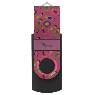 名前入りな一流のピンクのかわいい男の子のレスリング選手のマット USBフラッシュドライブ
