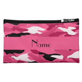 名前入りな一流のピンクのカムフラージュ コスメティックバッグ
