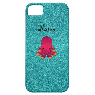 名前入りな一流のピンクのタコのターコイズのグリッター iPhone SE/5/5s ケース