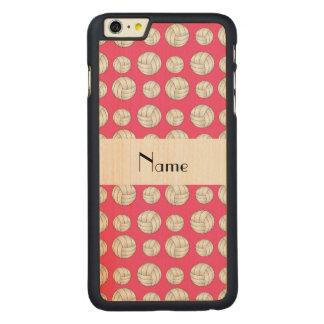 名前入りな一流のピンクのバレーボールの球 CarvedメープルiPhone 6 PLUS スリムケース