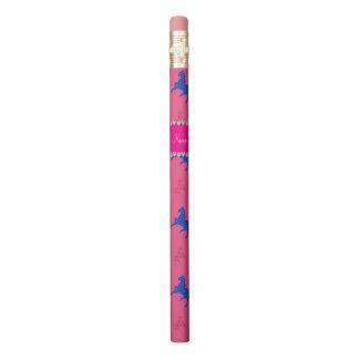 名前入りな一流のピンクのパターン(の模様が)あるな馬 鉛筆