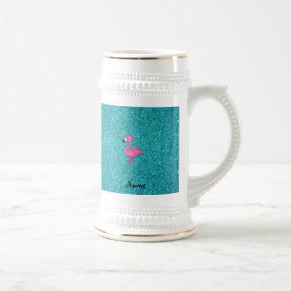 名前入りな一流のピンクのフラミンゴのターコイズのグリッター ビールジョッキ