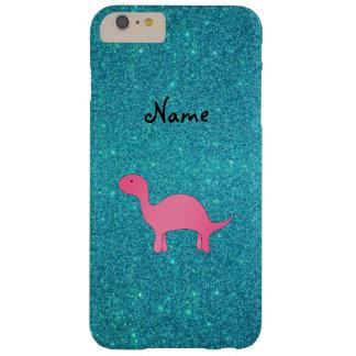 名前入りな一流のピンクの恐竜のターコイズのグリッター BARELY THERE iPhone 6 PLUS ケース