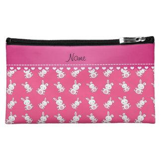 名前入りな一流のピンクの白いバニー コスメティックバッグ