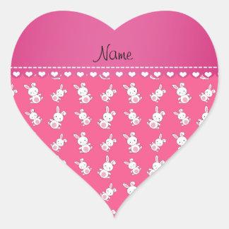 名前入りな一流のピンクの白いバニー ハートシール