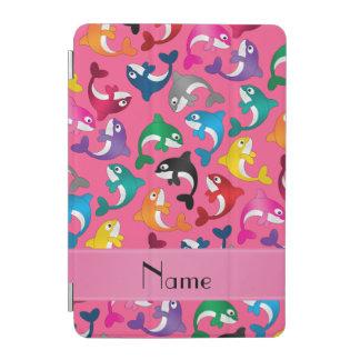 名前入りな一流のピンクの虹のシャチ iPad MINIカバー