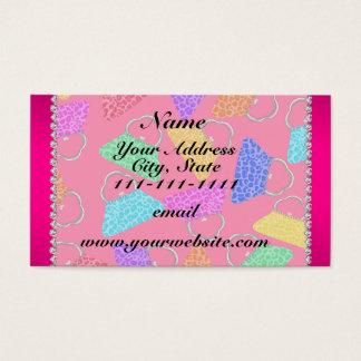 名前入りな一流のピンクの虹のヒョウの財布 名刺
