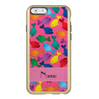 名前入りな一流のピンクの虹のnarwhals incipio feather shine iPhone 6ケース