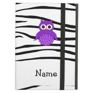 名前入りな一流のフクロウのシマウマは縞で飾ります iPad AIRケース