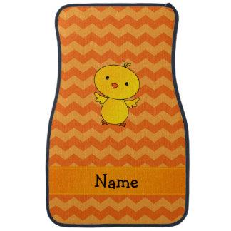 名前入りな一流のベビーのひよこのオレンジのシェブロン カーマット