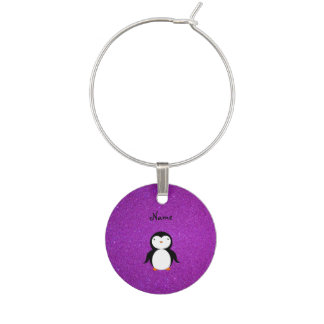 名前入りな一流のペンギンの紫色のグリッター ワインチャーム