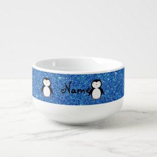 名前入りな一流のペンギンの青いグリッター スープマグ