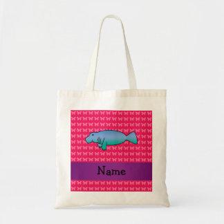 名前入りな一流のマナティーのピンクの蝶 トートバッグ