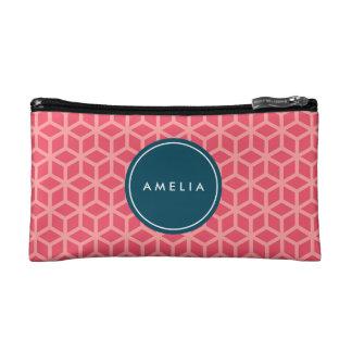 名前入りな一流のモノグラムの幾何学的なピンク コスメティックバッグ