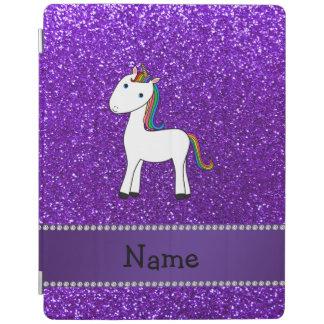 名前入りな一流のユニコーンの紫色のグリッター iPadスマートカバー