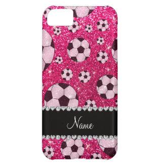 名前入りな一流のローズピンクのグリッターのサッカー iPhone5Cケース