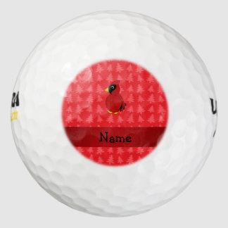 名前入りな一流の基本的で赤いクリスマスツリー ゴルフボール