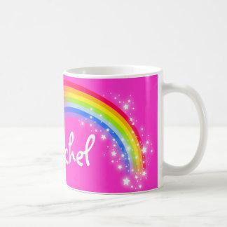 名前入りな一流の女の子のレイチェルの虹ピンクのマグ コーヒーマグカップ